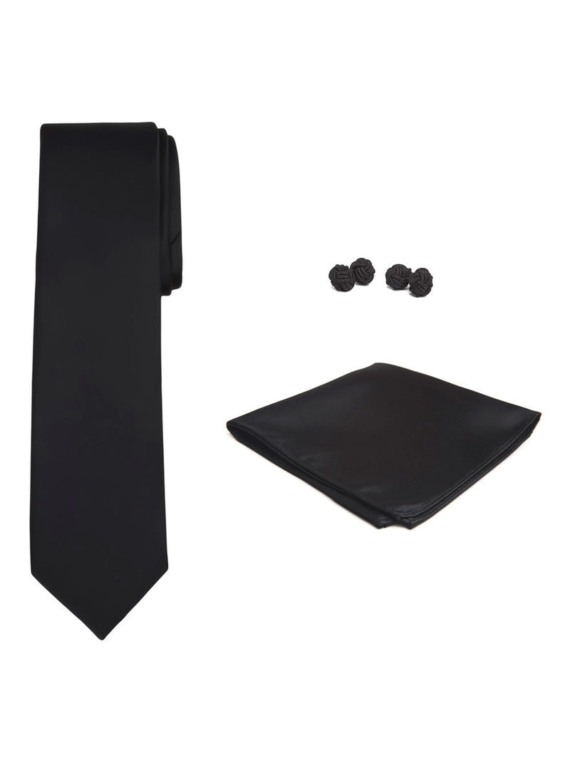 Jacob Alexander Solid Color Men's Tie Hanky and Cufflink Set - Black