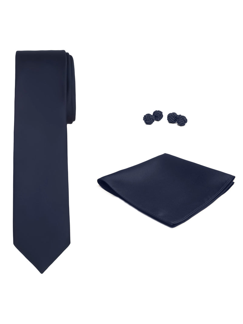 Jacob Alexander Solid Color Men's Tie Hanky and Cufflink Set - Navy Blue