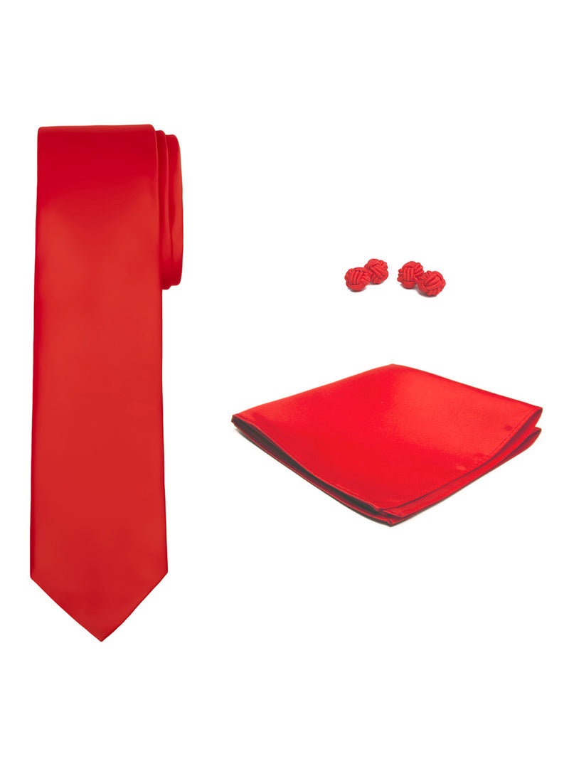 Jacob Alexander Solid Color Men's Tie Hanky and Cufflink Set - Crimson Red