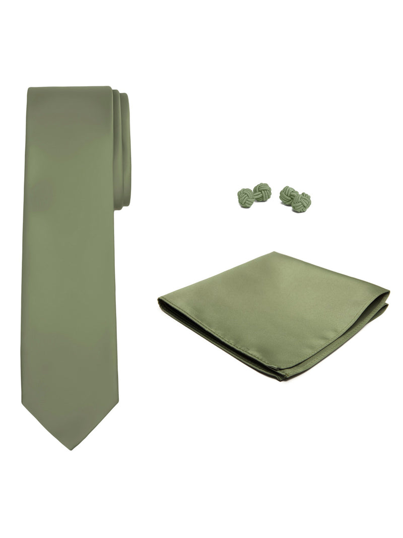 Jacob Alexander Solid Color Men's Tie Hanky and Cufflink Set - Green Olive