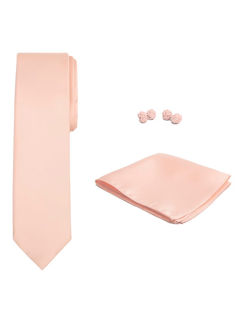 Jacob Alexander Solid Color Men's Tie Hanky and Cufflink Set - Peach