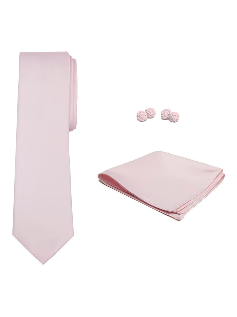 Jacob Alexander Solid Color Men's Tie Hanky and Cufflink Set - Bridal Pink