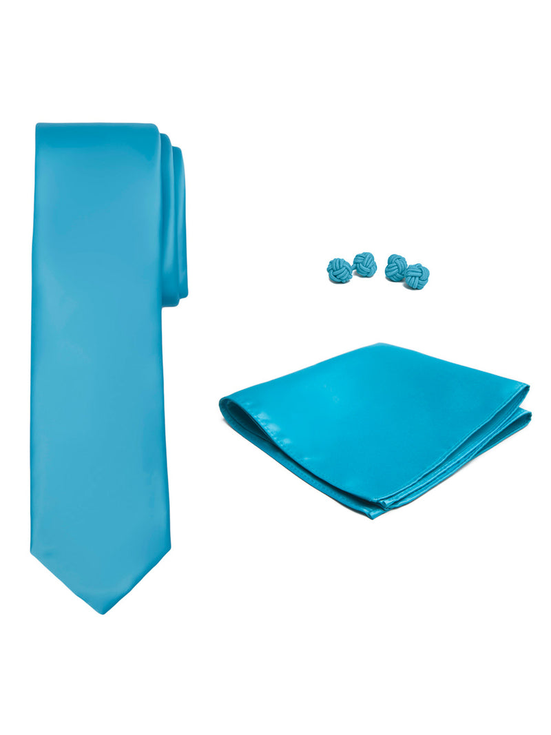 Jacob Alexander Solid Color Men's Tie Hanky and Cufflink Set - Turquoise Blue