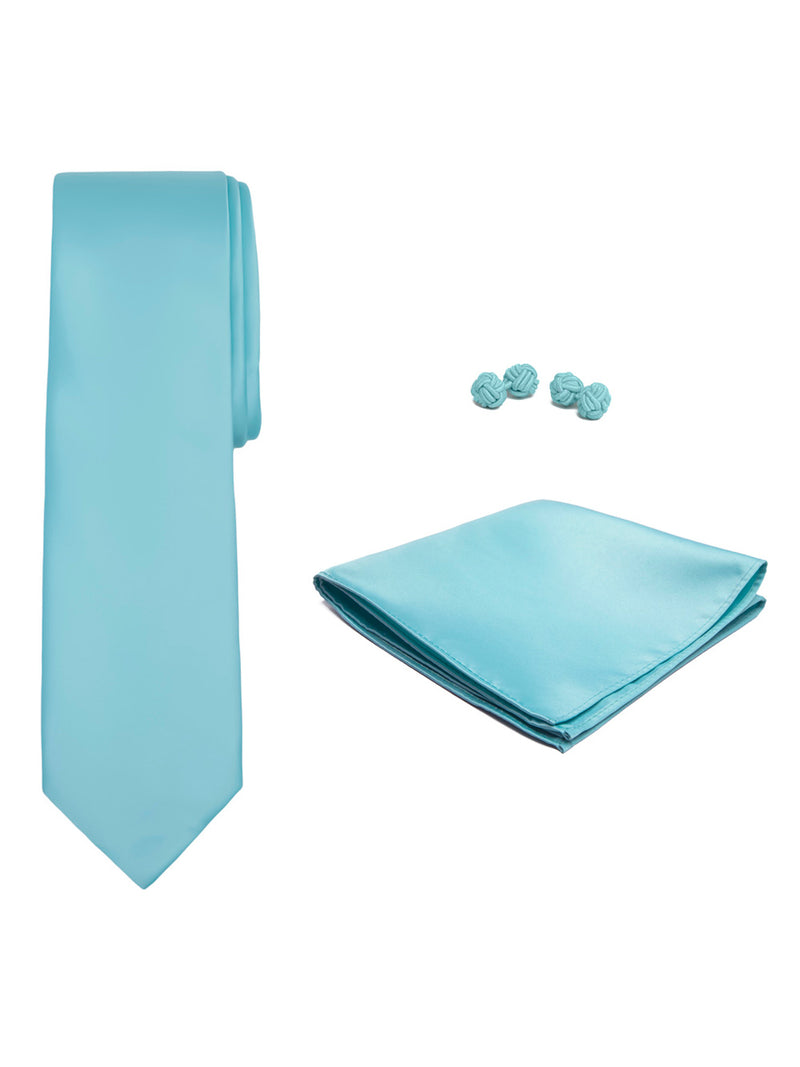 Jacob Alexander Solid Color Men's Tie Hanky and Cufflink Set - Aqua Blue