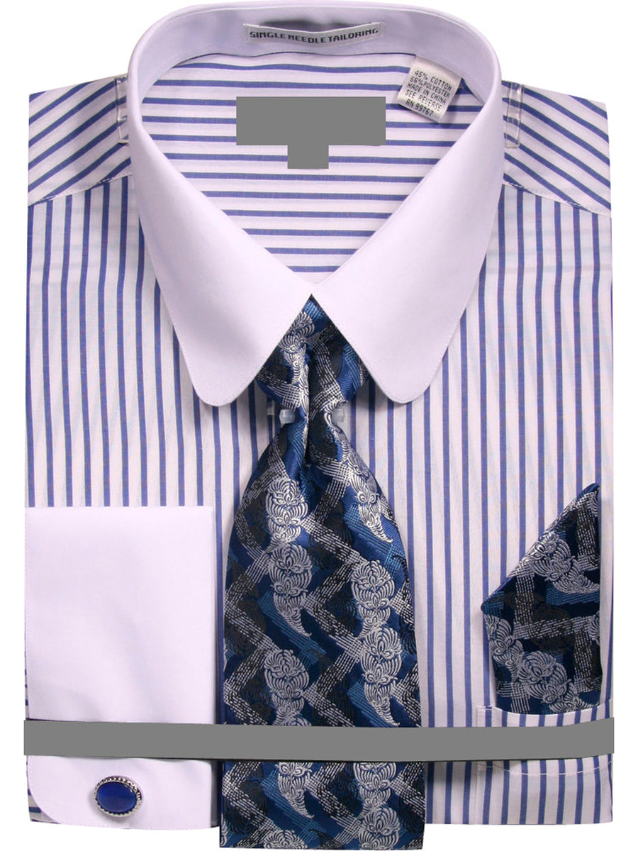 Men's Pinstripe Dress Shirt with Tie Handkerchief Cufflinks