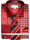 Men's Checkered Pattern Tone on Tone Dress Shirt French Cuffs Tie Hanky Cufflinks
