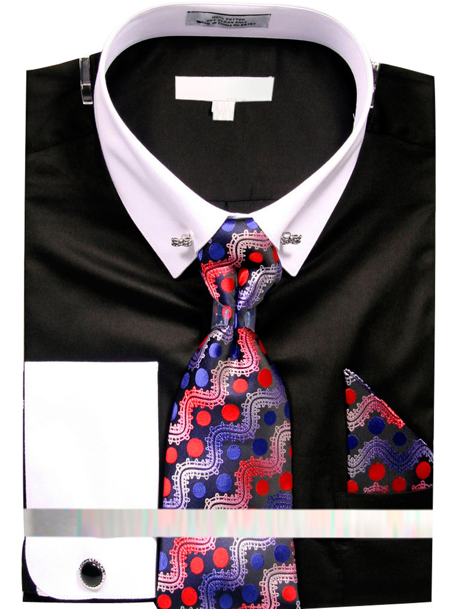 Men's Solid Dress Shirt with Collar Bar and Tie Handkerchief Cufflinks