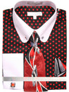 Men's Dress Shirt with Tie Handkerchief Cufflinks and Collar Bar with Stone
