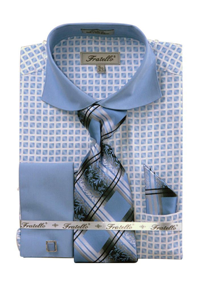 Men's Check Tone On Tone French Cuff Shirt w Cufflinks - Blue 15.5 33-34