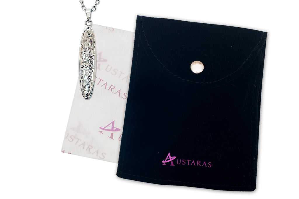 Hawaiian Jewelry by Austaras - Surfboard Pendant Engraved with Hibiscus Flower