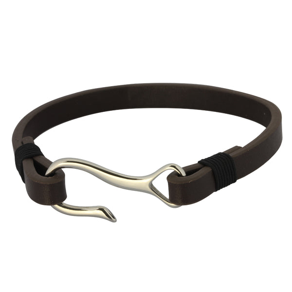 Leather Bracelet by Austaras - S Hook Clasp Nautical Fishing Hook