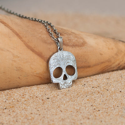 Hawaiian Jewelry by Austaras - Skull Pendant - Engraved with Hibiscus Flower