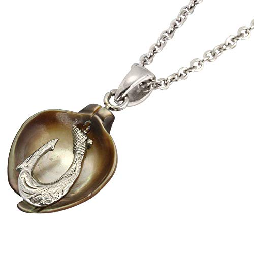 Austaras Fish Hook Necklace - Seashell Pendant with Hibiscus Flower Engraved