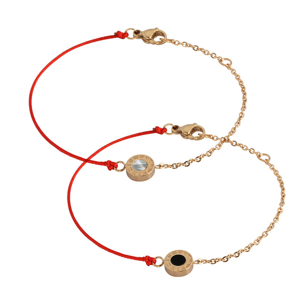 Red String Bracelet by Austaras - Double Sided Natural Seashell - For Good Luck