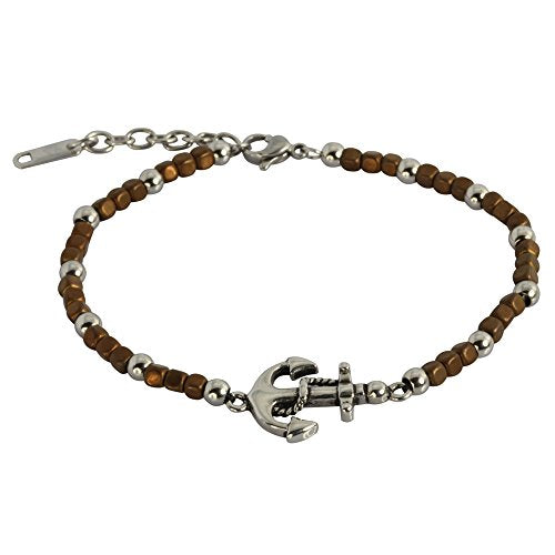 Hematite Beaded Healing Bracelet Stone Magnetic Ankle Wrist Hypoallergenic 316L Stainless Steel 925 Sterling Silver Brown with Nautical Anchor Clasp Hawaiian Jewelry Gift Holidays Christmas Mother Fat