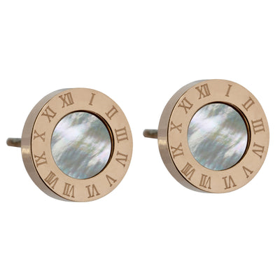 Natural Seashell Stud Earrings by Austaras - Roman Numerals Clock Face