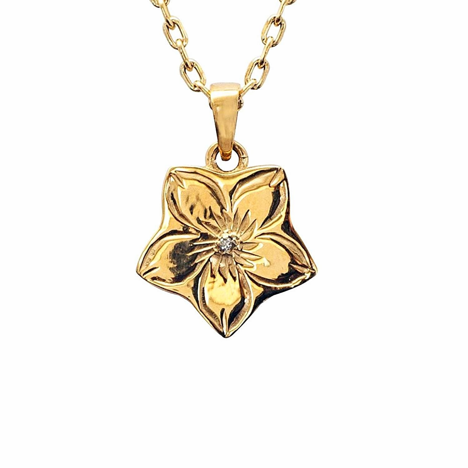 Hawaiian Jewelry by Austaras - Hibiscus Flower Pendant with Swarovski Crystal