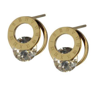 Crystal Stud Earrings by Austaras - Roman Numerals Clock Face