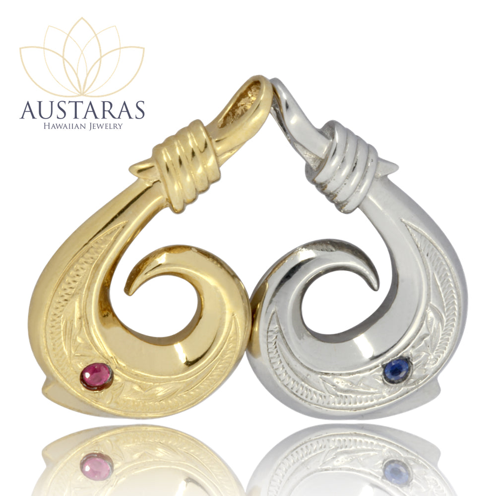 Austaras Hawaiian Fish Hook Necklace with Ruby or Sapphire