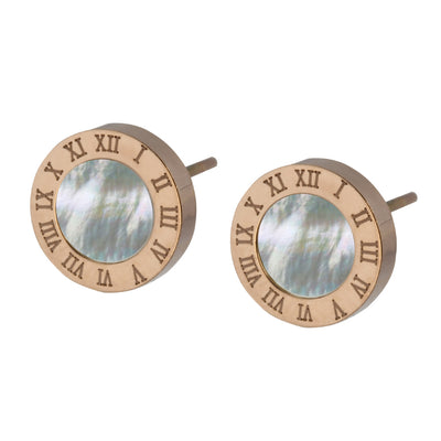 Natural Seashell Stud Earrings by Austaras - Roman Numerals Clock Face Small