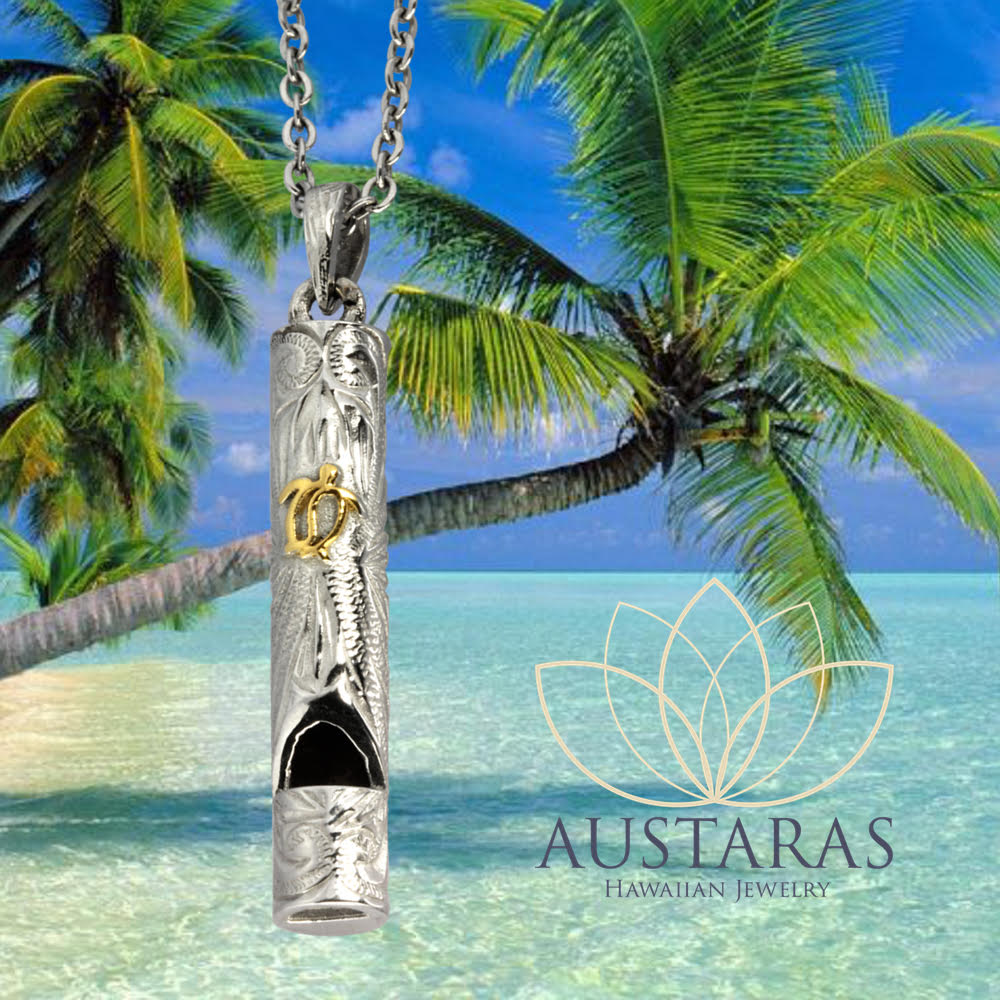 Austaras Hawaiian Turtle Bar Necklace - 925 Sterling Silver Plated Stainless Steel Whistle Pendant