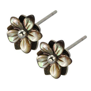 Austaras Flower Stud Earrings - Hand Carved Hawaiian Hibiscus Flower