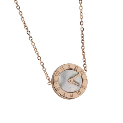 Natural Seashell Necklace by Austaras - Roman Numerals Clock Face