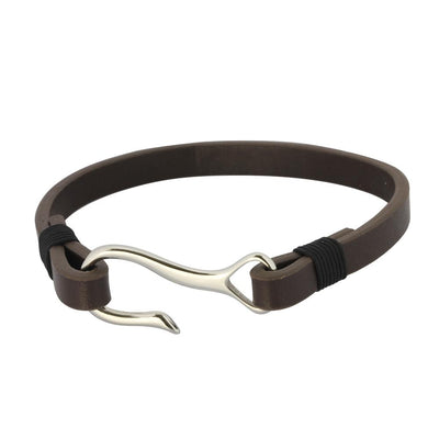 ✦Austaras Jewelry✦ Brown/ Black/ Steel/ Blue Leather Bracelet Unisex Christmas Gift