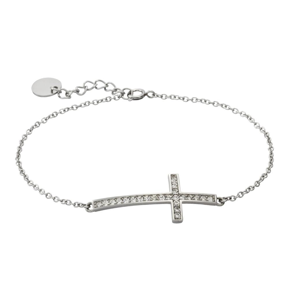✦Austaras✦ Silver Plated and Crysltal vertical Cross Half Bracelet Women Christmas gift for her