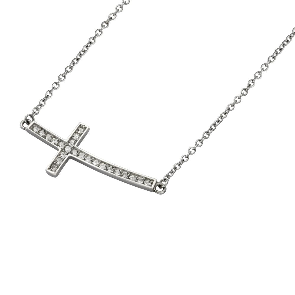 ✦Austaras✦ Silver Plated and Crysltal vertical Cross Pendant Necklace Women Christmas gift for her