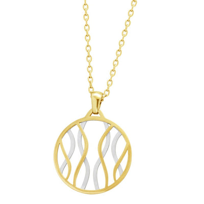 ✦Austaras✦ 14k gold plated and steel Wild Round Pendant Necklace Women Christmas gift For her