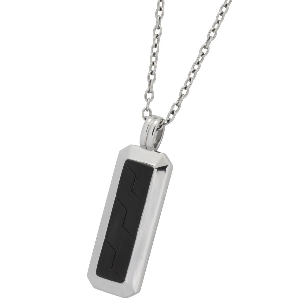 ✦Austaras✦ Black and Steel Oblong Pendant Necklace Uisex Christmas gift