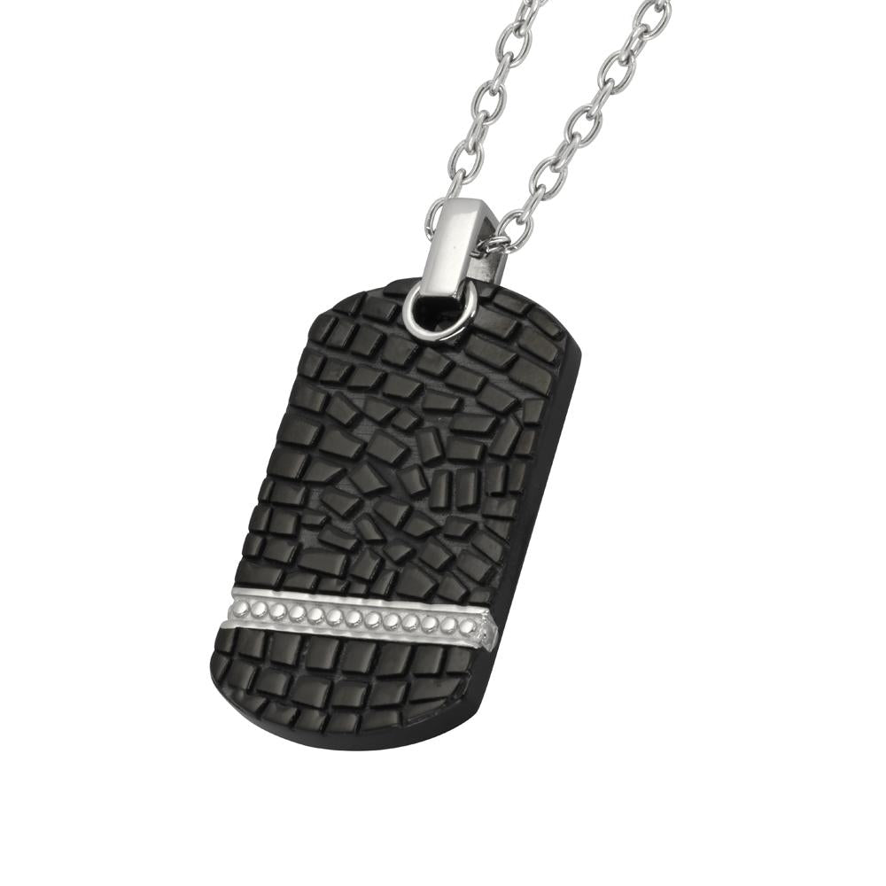 ✦Austaras✦ Designed Black Dog Tag Pendant Necklace Unisex Christmas gift