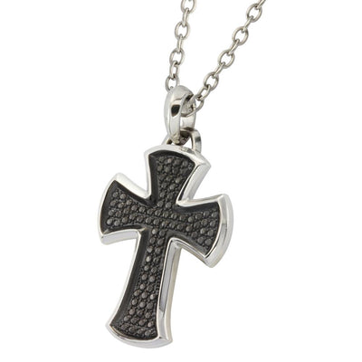 ✦Austaras✦ 925 Black / Silver Blade Cross Pendant Necklace Unisex Christmas gift