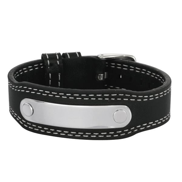 ✦Austaras Jewelry✦ Silver and Black leather Bracelet Unisex Christmas Gift