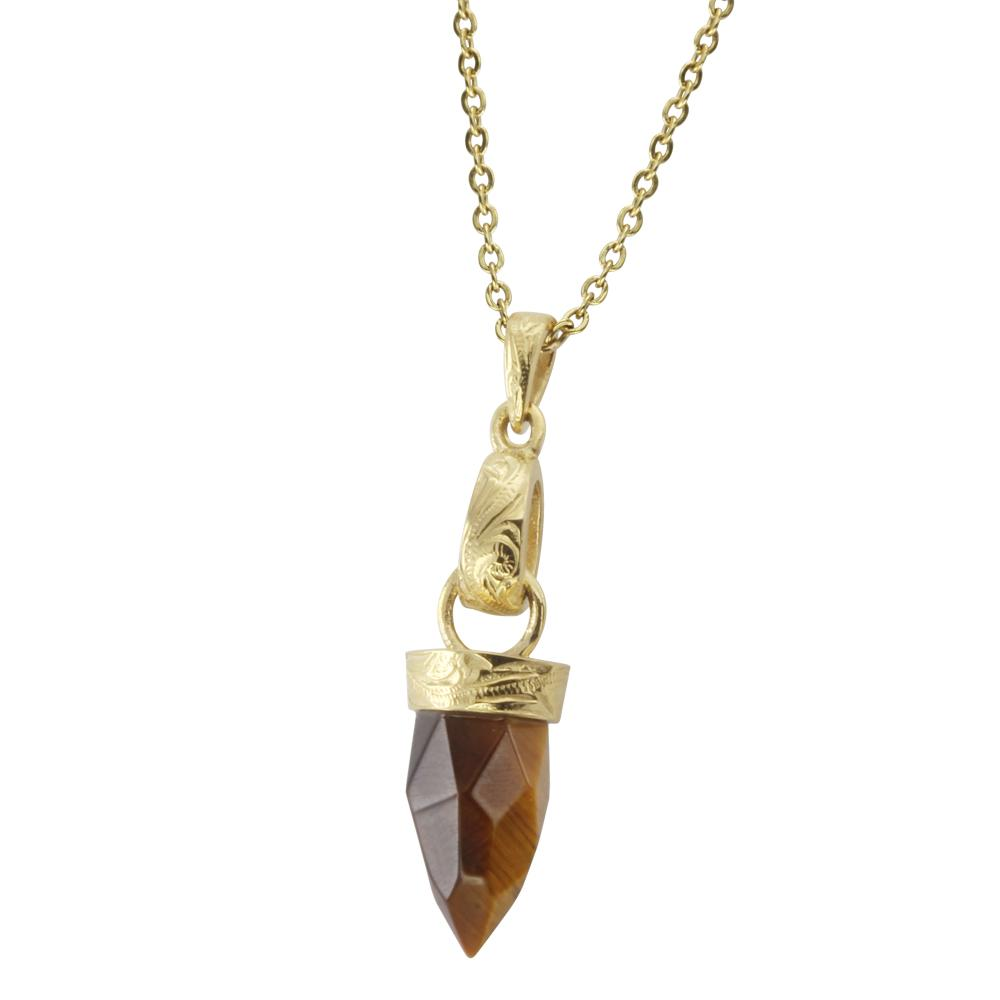 ✦Austaras✦ Tiger Eye 14k Gold Plated Pendant Necklace Women Christmas gift For her For Good Balance