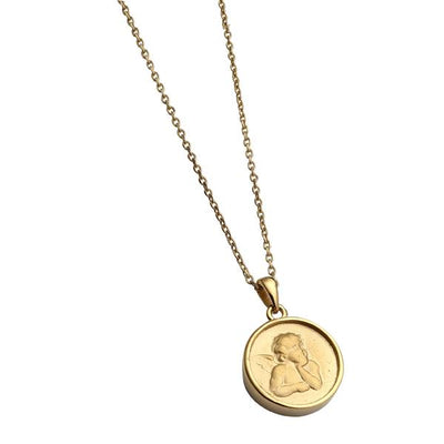 ✦Austaras✦ Guardian Angel Gold Plated Coin Pendant Necklace Christmas gift For her