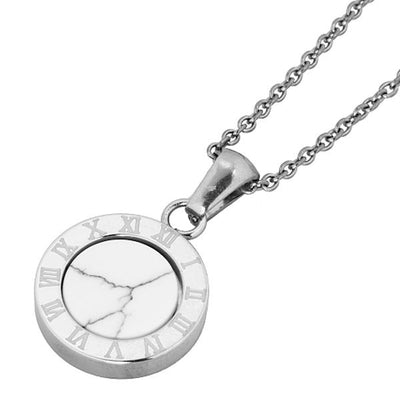 ✦Austaras✦ Silver plated Roman numerals Round Pendant Necklace Women Christmas gift For her