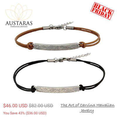 ✦Austaras Jewelry✦ STEEL & LEATHER BRACELET  •  Unisex Christmas Gift