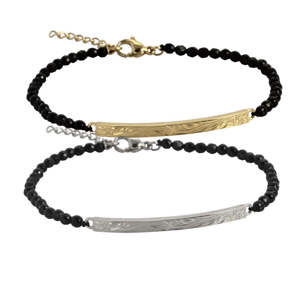 ✦Austaras Jewelry✦ 14k Gold/ Silver Plated and Black Bracelet Unisex Christmas Gift