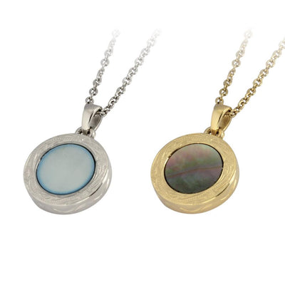 ✦Austaras✦ Natural Blue/ 14K Gold /Natural Dark and Steel Round Pendant Necklace Women Christmas gift For her