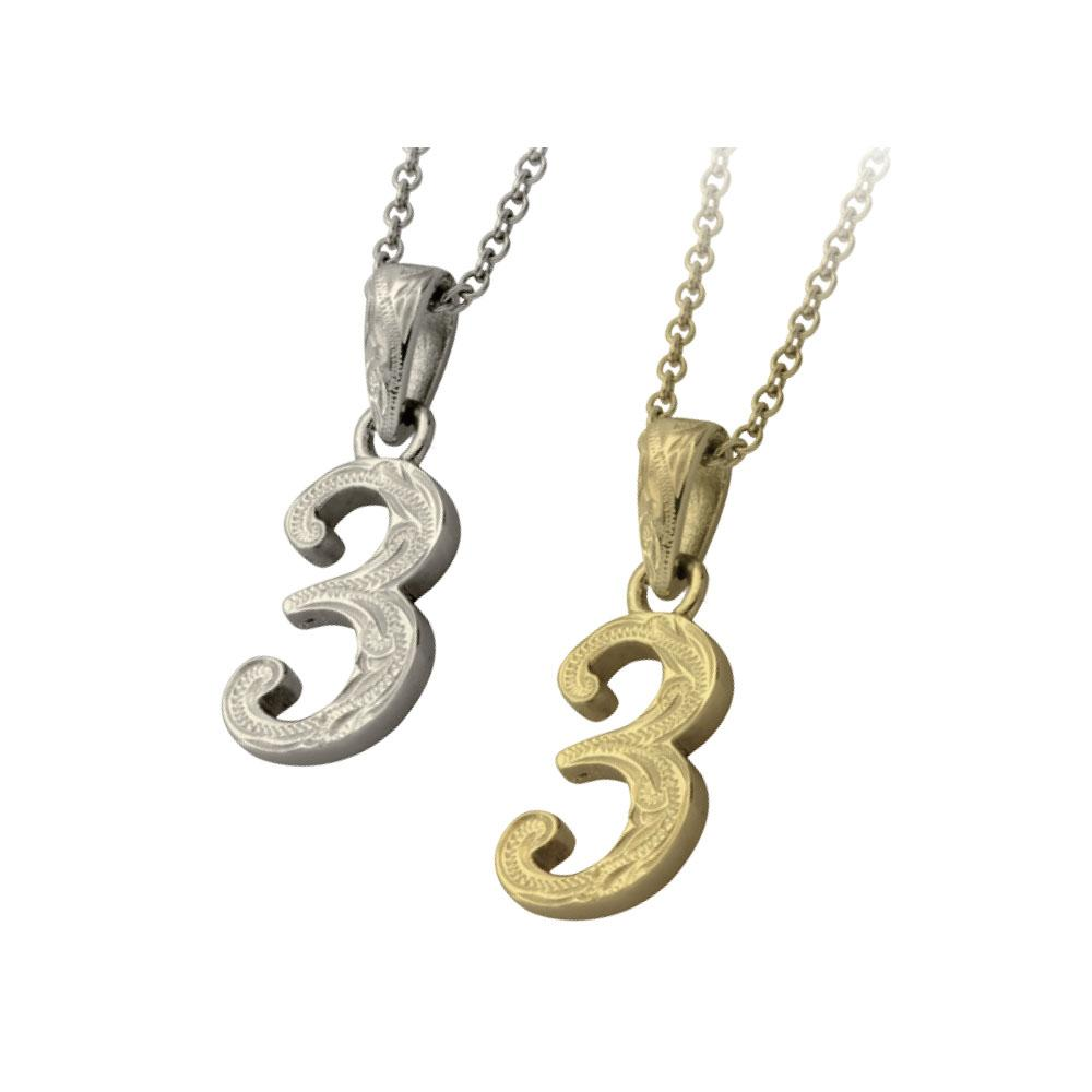 ✦AUSTARAS✦ 14K GOLD / SILVER PLATED Hawaiian carving numbers pendant (NO.3)