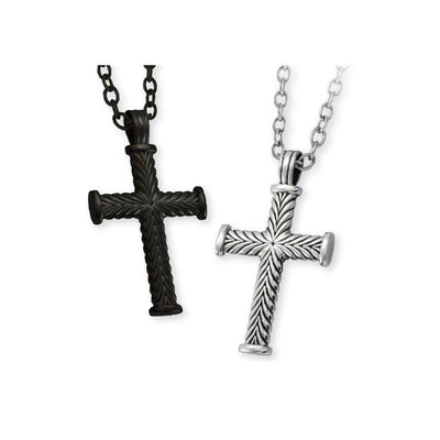 ✦Austaras✦ 925 Black / Silver Cross Pendant Necklace Unisex Christmas gift