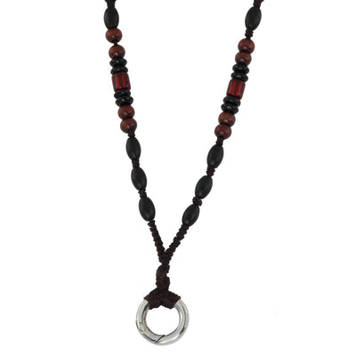 BEAD NECKLACE WITH STAINLESS STEEL RING MNSS20