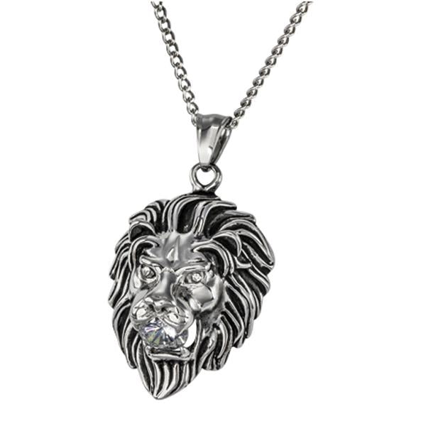 ✦Austaras✦ Silver plated Lion Head Pendant Necklace Unisex Christmas gift