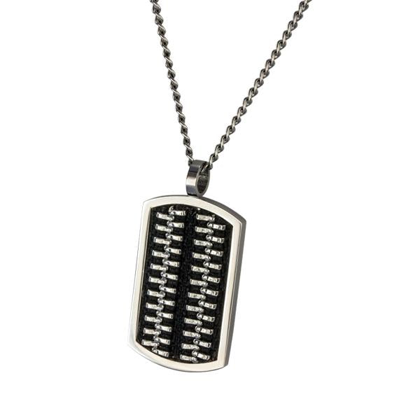 ✦Austaras✦ Designed Black and Silver Dog Tag Pendant Necklace Unisex Christmas gift