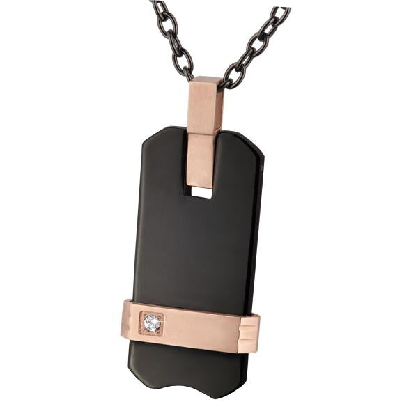 ✦Austaras✦ Designed Titanium Rose gold and Black Dog Tag Pendant Necklace Christmas gift for her
