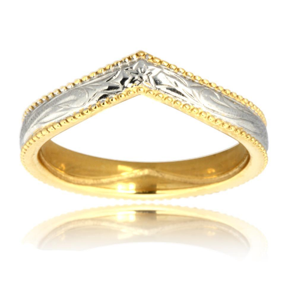 Hawaiian Ring by Austaras - Sterling Silver and Gold Plated Stainless Steel Heart Ring