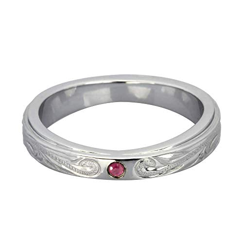 Austaras Stainless Steel Ring - Sterling Silver Plated with Ruby