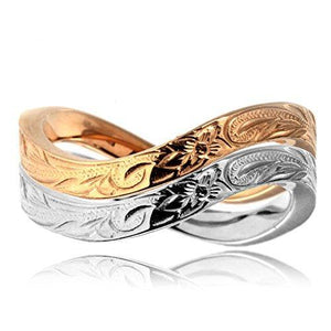 925 Sterling Silver/Rose Gold Plated Stainless Steel Hibiscus Flower Hawaiian Ring